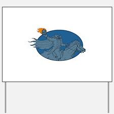 Headless Horseman Pumpkin Head Horse Oval Drawing