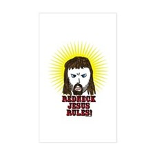 Redneck Jesus Rules Rectangle Decal