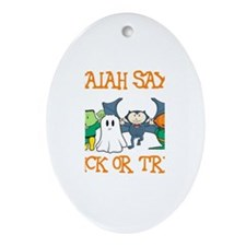 Isaiah Says Trick or Treat Oval Ornament