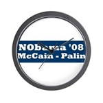 NObama - Blue & White Wall Clock