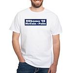 NObama - Blue & White White T-Shirt