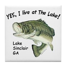 Lake Sinclair GA bass Tile Coaster