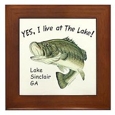 Lake Sinclair GA bass Framed Tile