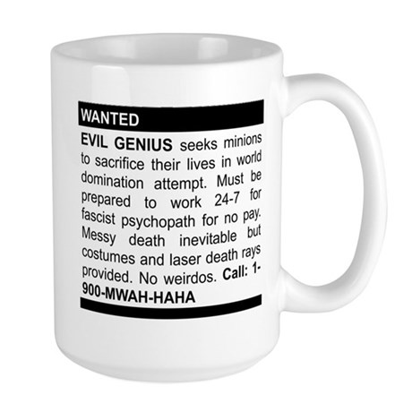 Evil Genius Personal Ad Large Mug