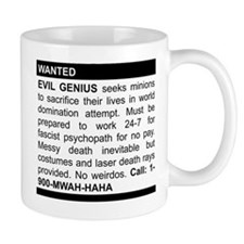 Evil Genius Personal Ad Small Mugs
