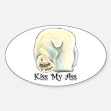 Kiss My Ass - Polar Bear Oval Decal