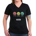 Restart Button Women's V-Neck Dark T-Shirt