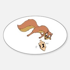 Chipmunk & Dreidel Oval Decal