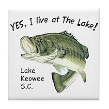 Lake Keowee SC bass Tile Coaster