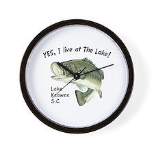 Lake Keowee SC bass Wall Clock