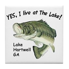 Lake Hartwell GA bass Tile Coaster