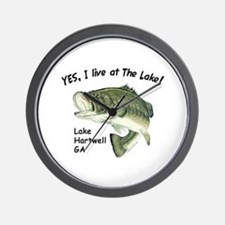 Lake Hartwell GA bass Wall Clock