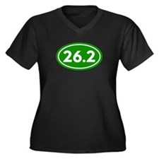 Green 26.2 Marathon Runner Women's Plus Size V-Nec