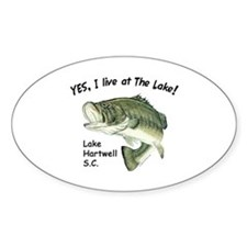 Lake Hartwell SC bass Oval Decal