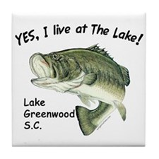 Lake Greenwood SC bass Tile Coaster