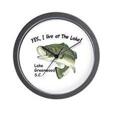 Lake Greenwood SC bass Wall Clock