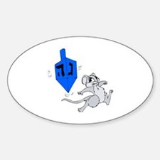 Mouse & Dreidel Oval Decal