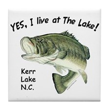 Kerr Lake NC bass Tile Coaster