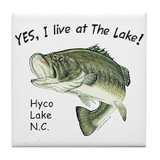 Hyco lake NC bass Tile Coaster