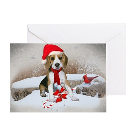 Beagle Christmas Scene Greeting Card