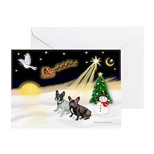 Night Flight/2 Fr Bulldogs Greeting Card