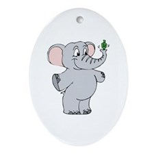 Elephant & Dreidel Oval Ornament