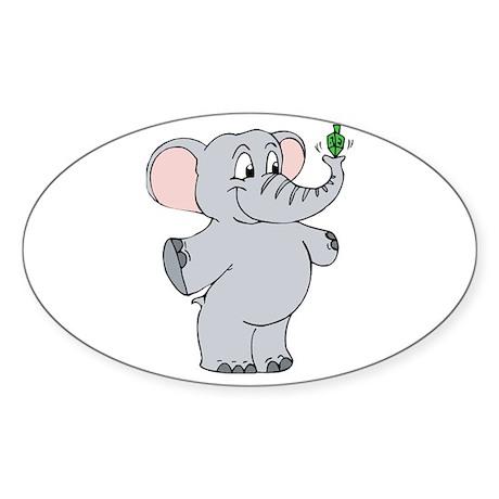 Elephant & Dreidel Oval Sticker (10 pk)