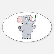 Elephant & Dreidel Oval Decal