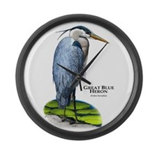 Great Blue Heron Large Wall Clock