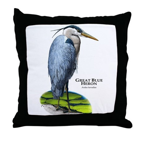 Great Blue Heron Throw Pillow by wildlifearts