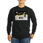 Night Flight/4 Poodles Long Sleeve Dark T-Shirt