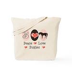 Peace Love Ponies Tote Bag