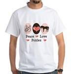 Peace Love Ponies White T-Shirt
