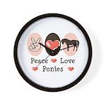 Peace Love Ponies Wall Clock