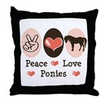 Peace Love Ponies Throw Pillow