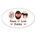 Peace Love Ponies Oval Sticker