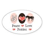 Peace Love Ponies Oval Sticker (50 pk)