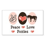 Peace Love Ponies Rectangle Sticker