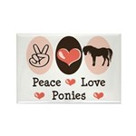 Peace Love Ponies Rectangle Magnet (10 pack)