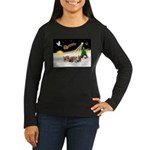 Night Flight/5 Yorkies Women's Long Sleeve Dark T-