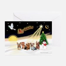 Night Flight/5 Yorkies Greeting Cards (Pk of 10)