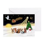 Night Flight/5 Yorkies Greeting Cards (Pk of 20)