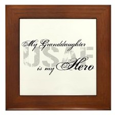 Granddaughter is my Hero USAF Framed Tile