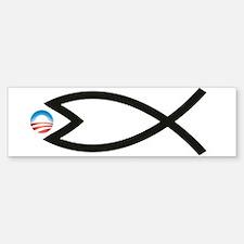 Jesus Fish Eats Obamessiah Bumper Bumper Bumper Sticker