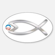Jesus Fish Eats Obamessiah FLT SLVR Oval Decal