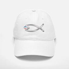 Jesus Fish Eats Obamessiah - FLT SLVR Baseball Baseball Cap