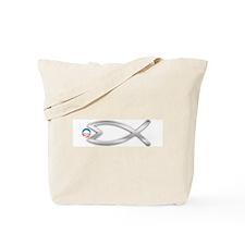 Jesus Fish Eats Obamessiah - FLT SLVR Tote Bag