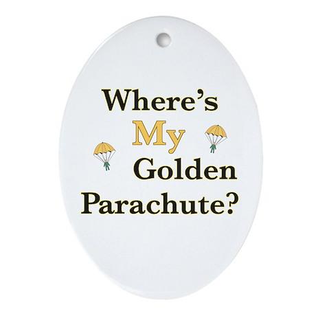 Golden Parachute Oval Ornament