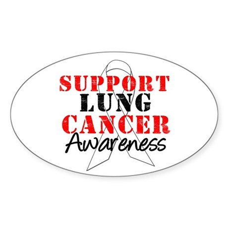 SupportLungCancerAwareness Oval Sticker (10 pk)