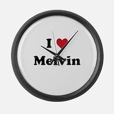 I love Melvin Large Wall Clock